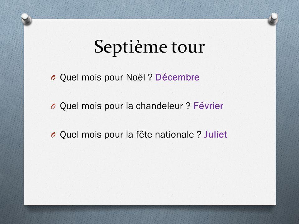 Septième tour O Quel mois pour Noël ? Décembre O Quel mois pour la chandeleur ? Février O Quel mois pour la fête nationale ? Juliet