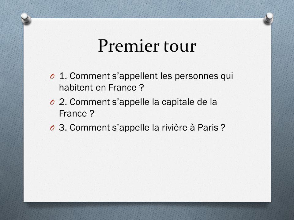 Premier tour O 1. Comment sappellent les personnes qui habitent en France ? O 2. Comment sappelle la capitale de la France ? O 3. Comment sappelle la
