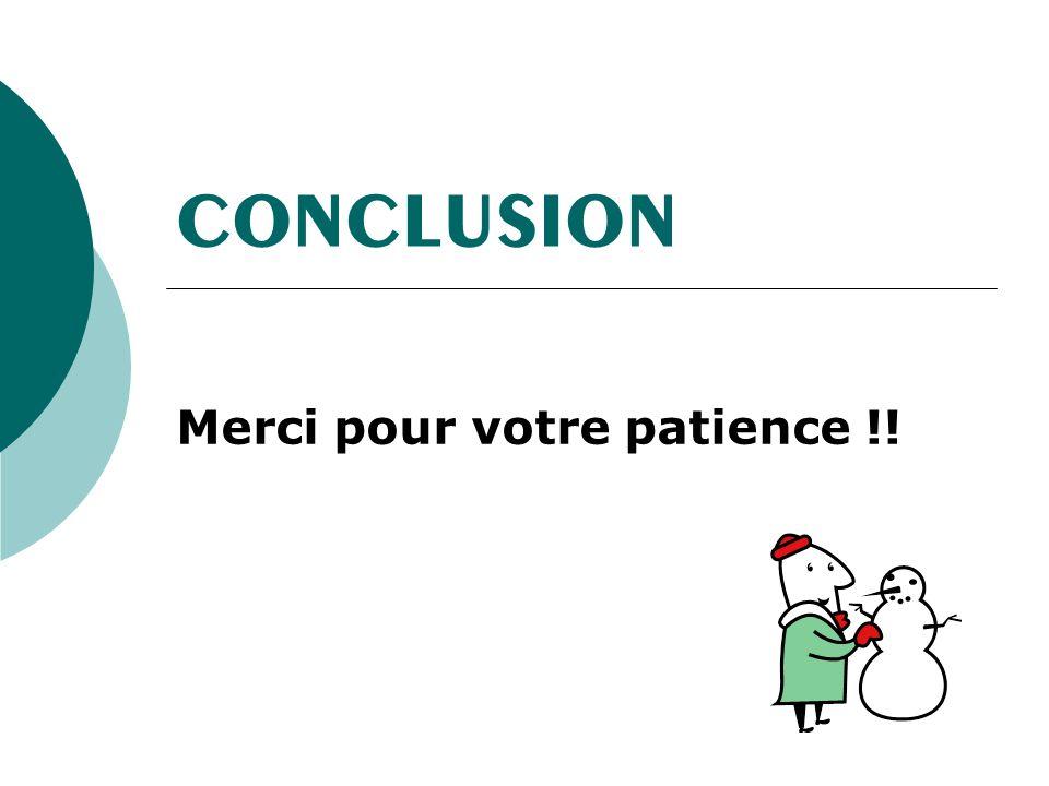 CONCLUSION Merci pour votre patience !!