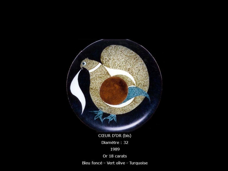 CŒUR DOR (bis) Diamètre : 32 1989 Or 18 carats Bleu foncé – Vert olive - Turquoise