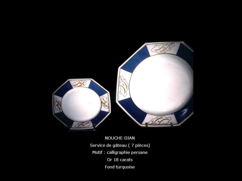 NOUCHE-DJAN Service de gâteau ( 7 pièces) Motif : calligraphie persane Or 18 carats Fond turquoise