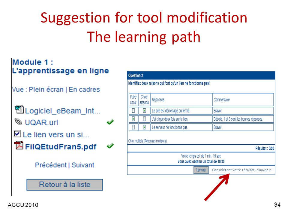 ACCU 2010 Considérant votre résultat, cliquez ici Suggestion for tool modification The learning path 34
