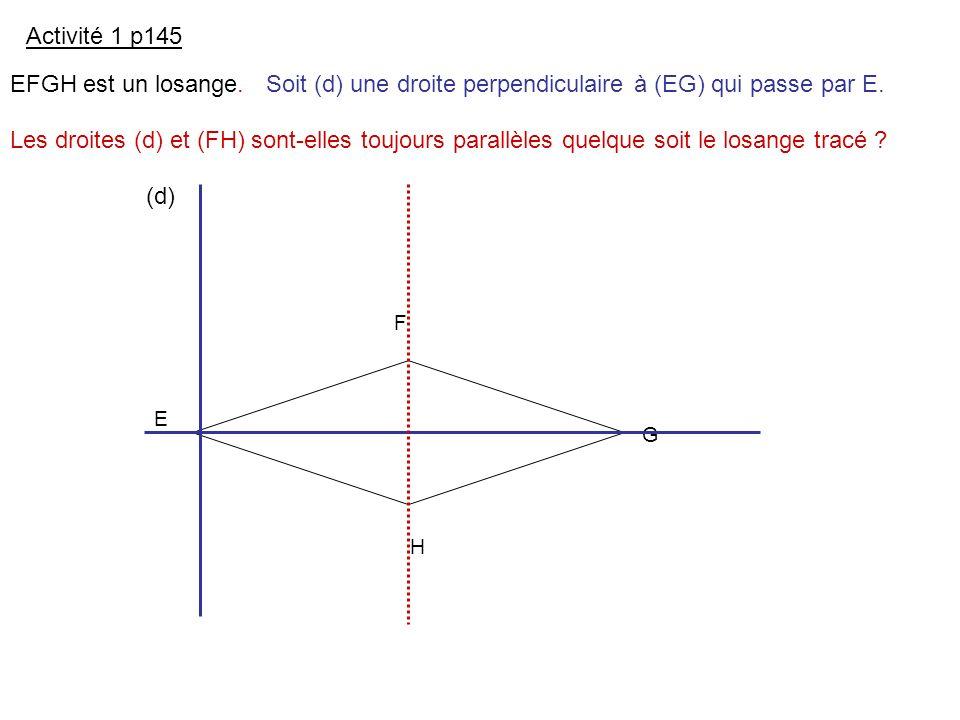 Les droites (d) et (FH) sont-elles toujours parallèles quelque soit le losange tracé ? E F G H Activité 1 p145 EFGH est un losange.Soit (d) une droite