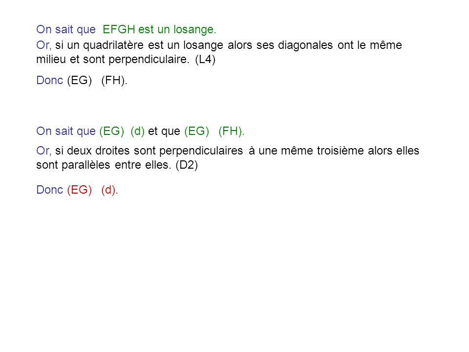 On sait que EFGH est un losange. Or, si un quadrilatère est un losange alors ses diagonales ont le même milieu et sont perpendiculaire. (L4) Donc (EG)