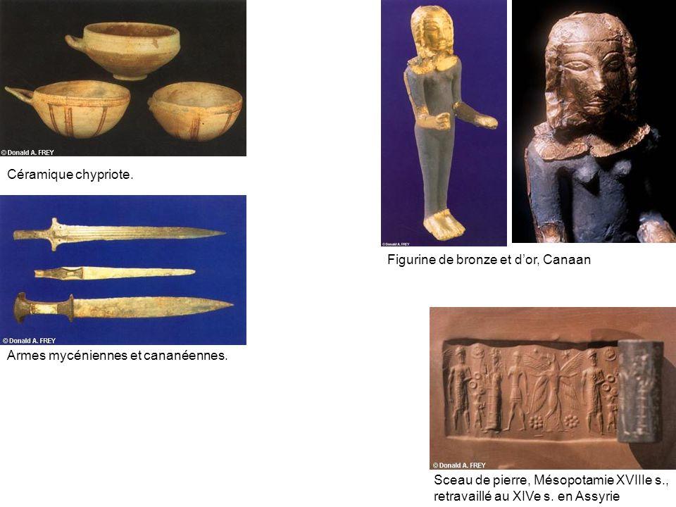 Céramique chypriote.Figurine de bronze et dor, Canaan Armes mycéniennes et cananéennes.