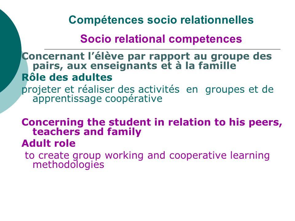 Compétences socio relationnelles Socio relational competences Concernant lélève par rapport au groupe des pairs, aux enseignants et à la famille Rôle