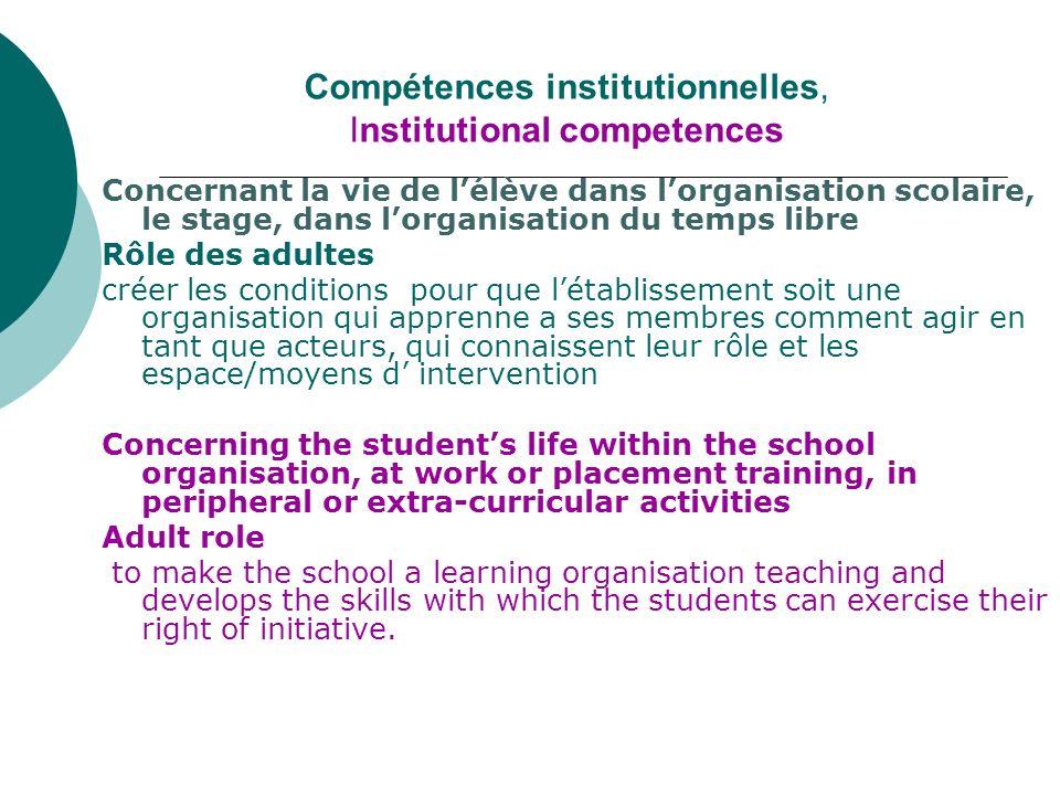 Compétences institutionnelles, Institutional competences Concernant la vie de lélève dans lorganisation scolaire, le stage, dans lorganisation du temp