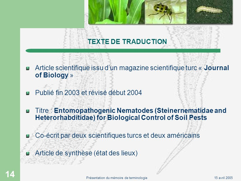 15 avril 2005Présentation du mémoire de terminologie 14 TEXTE DE TRADUCTION Article scientifique issu dun magazine scientifique turc « Journal of Biol