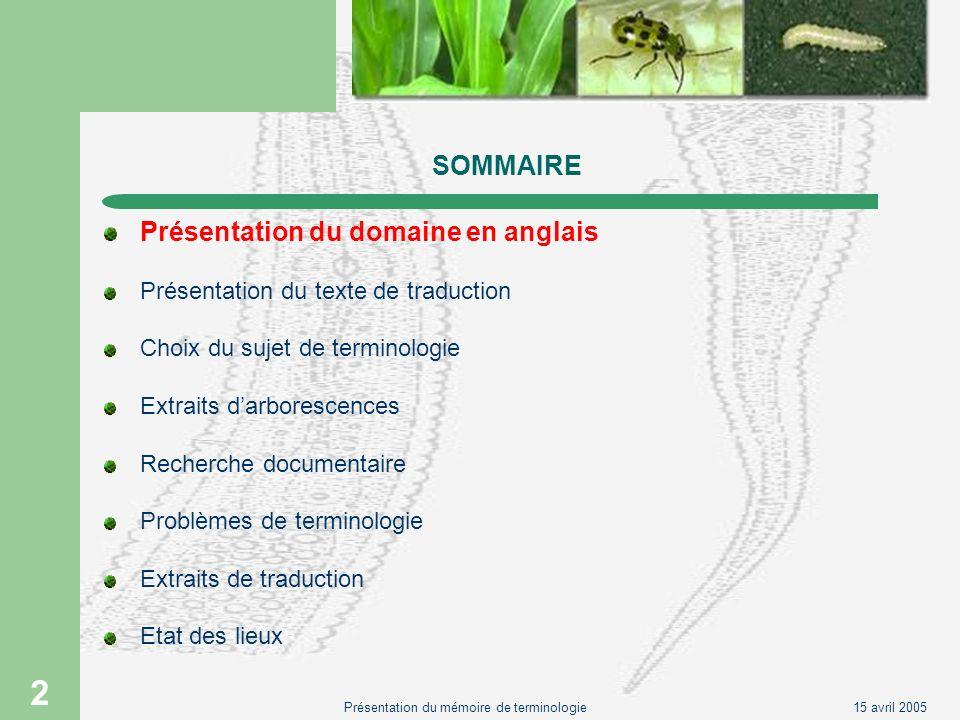 15 avril 2005Présentation du mémoire de terminologie 2 SOMMAIRE Présentation du domaine en anglais Présentation du texte de traduction Choix du sujet
