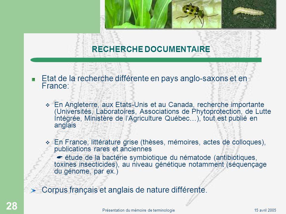 15 avril 2005Présentation du mémoire de terminologie 28 RECHERCHE DOCUMENTAIRE Etat de la recherche différente en pays anglo-saxons et en France: En A