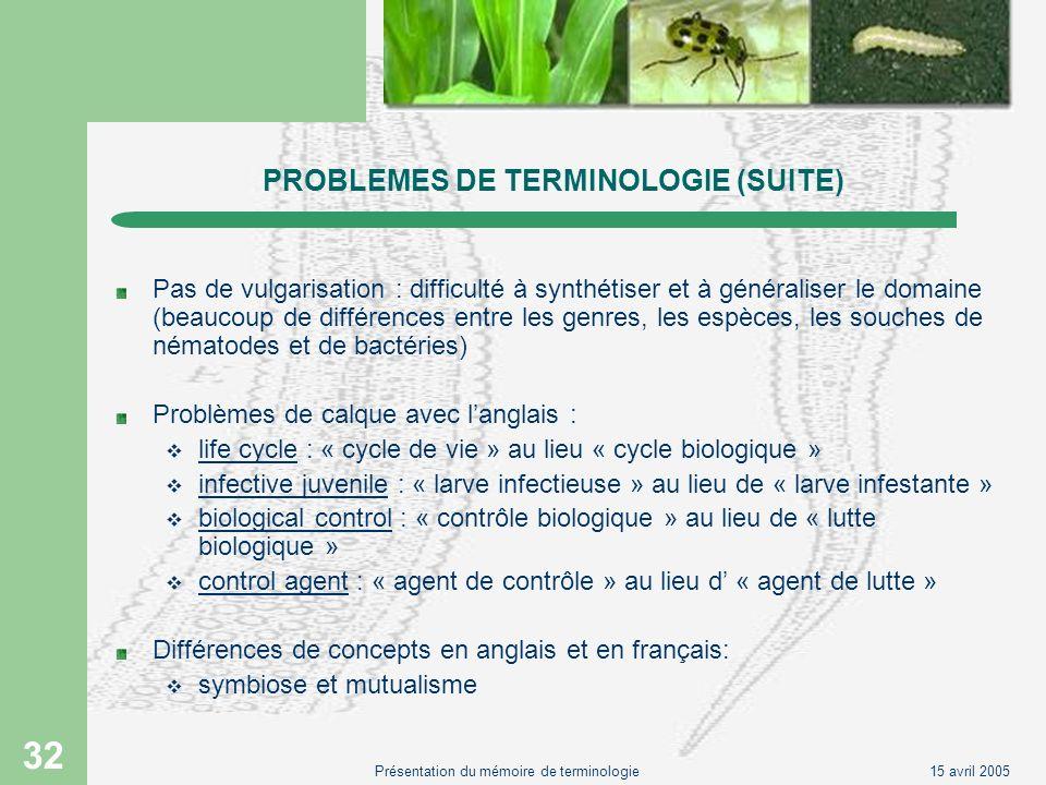 15 avril 2005Présentation du mémoire de terminologie 32 PROBLEMES DE TERMINOLOGIE (SUITE) Pas de vulgarisation : difficulté à synthétiser et à général