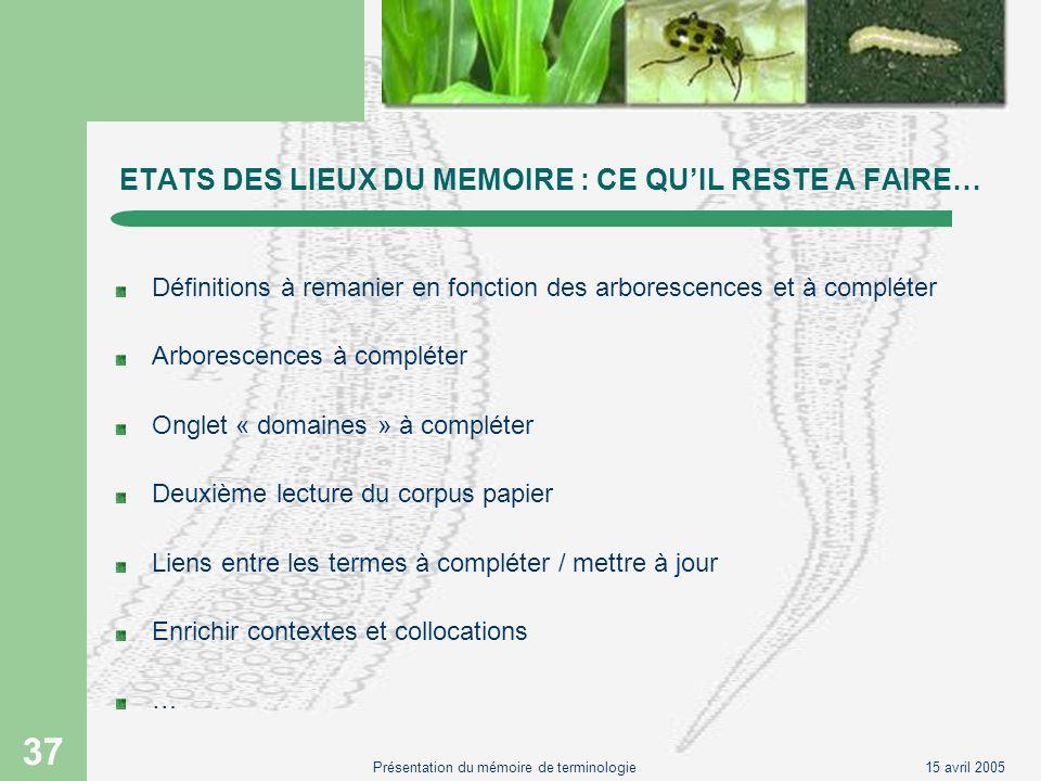15 avril 2005Présentation du mémoire de terminologie 37 ETATS DES LIEUX DU MEMOIRE : CE QUIL RESTE A FAIRE… Définitions à remanier en fonction des arb