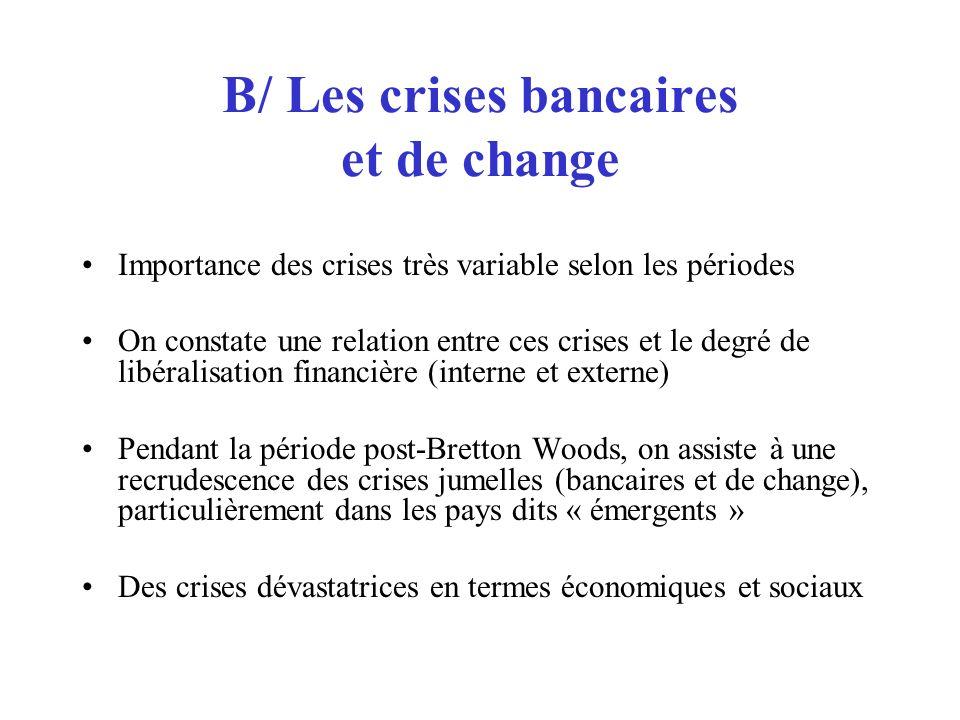 B/ Les crises bancaires et de change Importance des crises très variable selon les périodes On constate une relation entre ces crises et le degré de l