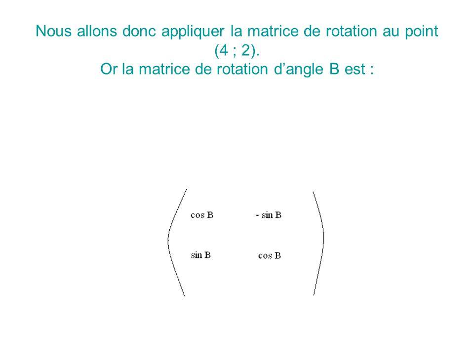 Nous allons donc appliquer la matrice de rotation au point (4 ; 2).