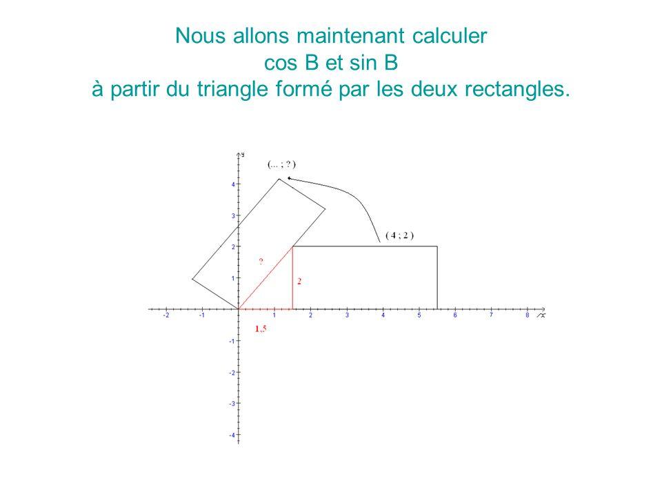 Nous allons donc appliquer la matrice de rotation au point (4 ; 2). Or la matrice de rotation dangle B est :