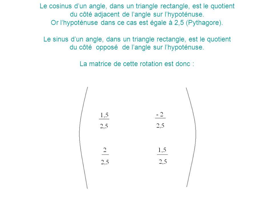 Le cosinus dun angle, dans un triangle rectangle, est le quotient du côté adjacent de langle sur lhypoténuse.