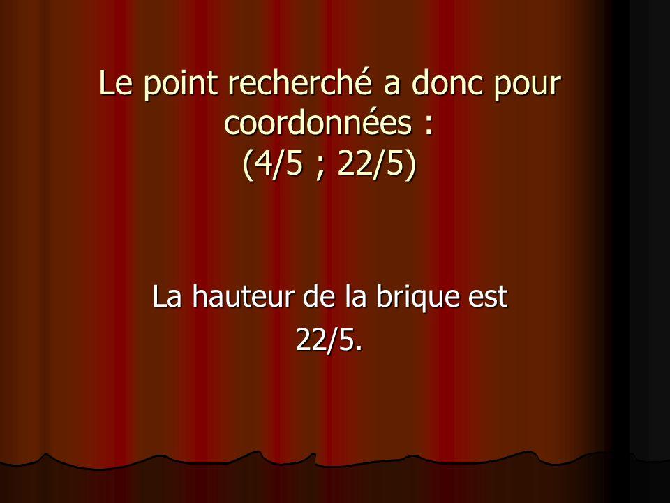 Le point recherché a donc pour coordonnées : (4/5 ; 22/5) La hauteur de la brique est 22/5.