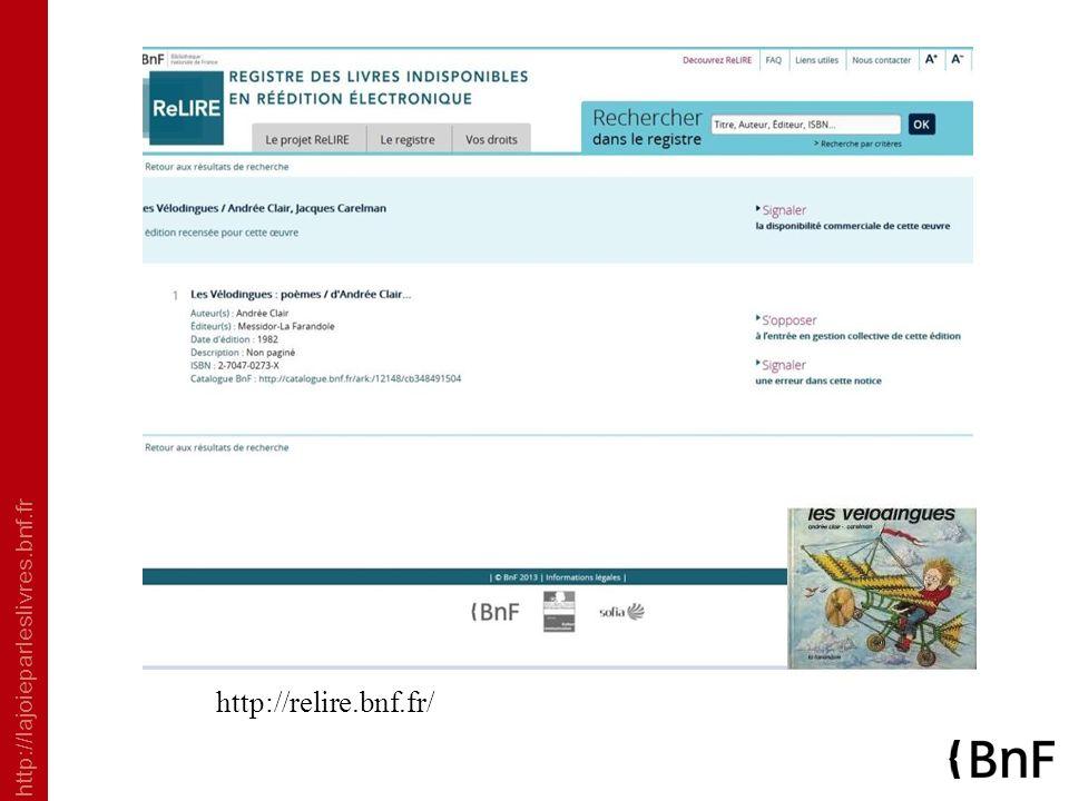 http://lajoieparleslivres.bnf.fr http://relire.bnf.fr/