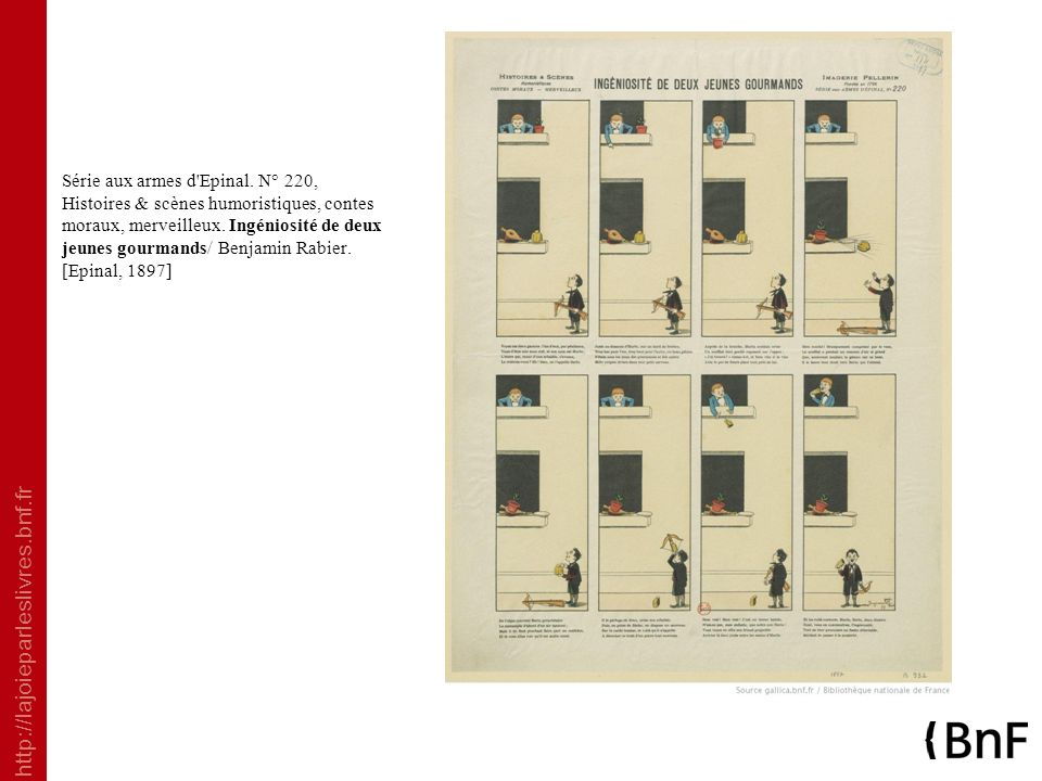 http://lajoieparleslivres.bnf.fr Série aux armes d'Epinal. N° 220, Histoires & scènes humoristiques, contes moraux, merveilleux. Ingéniosité de deux j