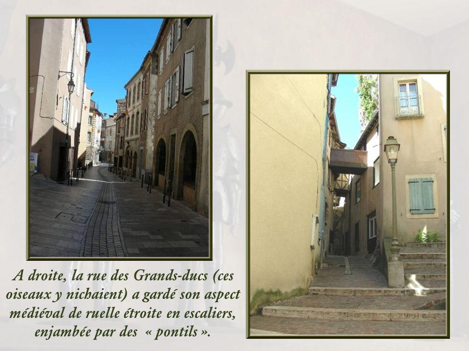 A droite, la rue des Grands-ducs (ces oiseaux y nichaient) a gardé son aspect médiéval de ruelle étroite en escaliers, enjambée par des « pontils ».