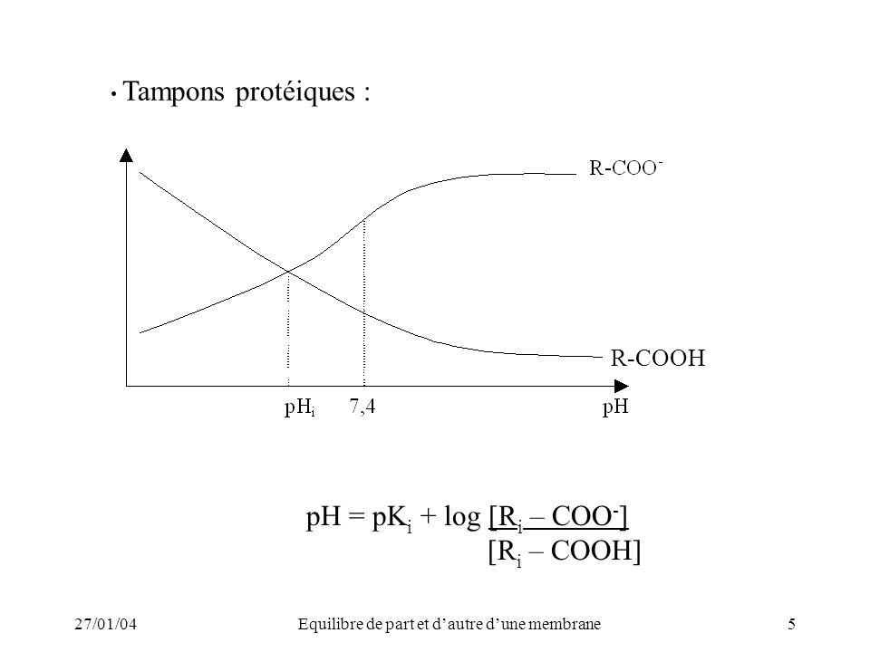 27/01/04Equilibre de part et dautre dune membrane5 Tampons protéiques : pH = pK i + log [R i – COO - ] [R i – COOH] R-COOH