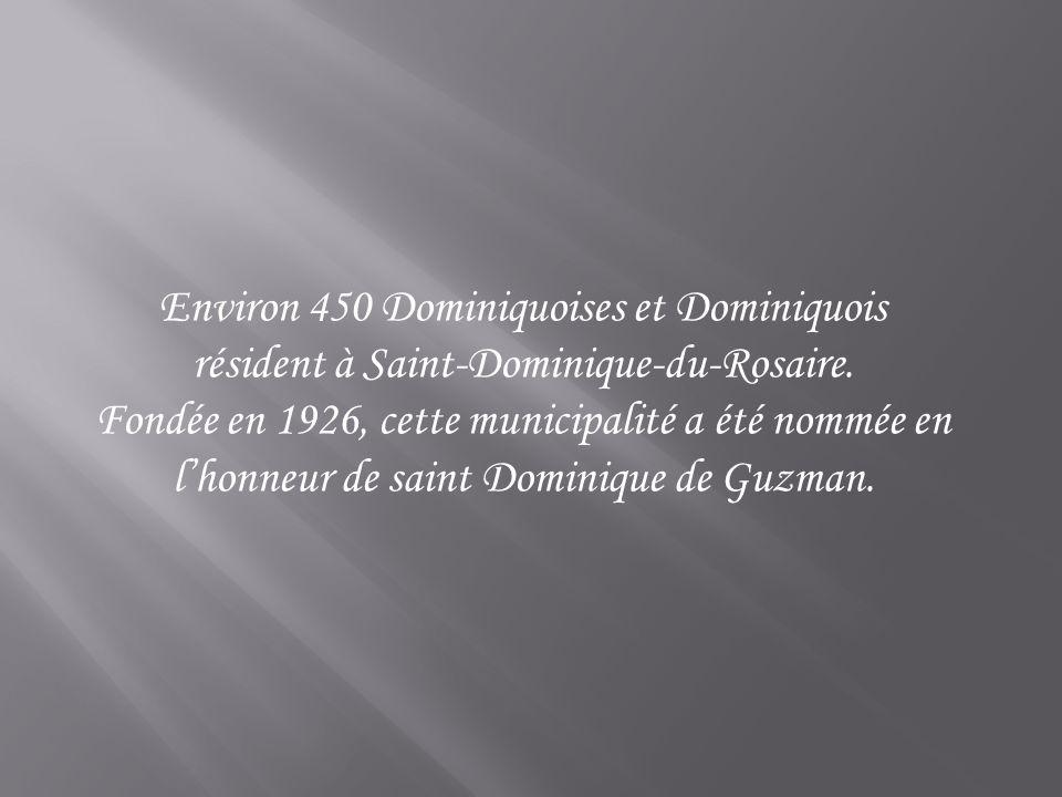 Environ 450 Dominiquoises et Dominiquois résident à Saint-Dominique-du-Rosaire. Fondée en 1926, cette municipalité a été nommée en lhonneur de saint D