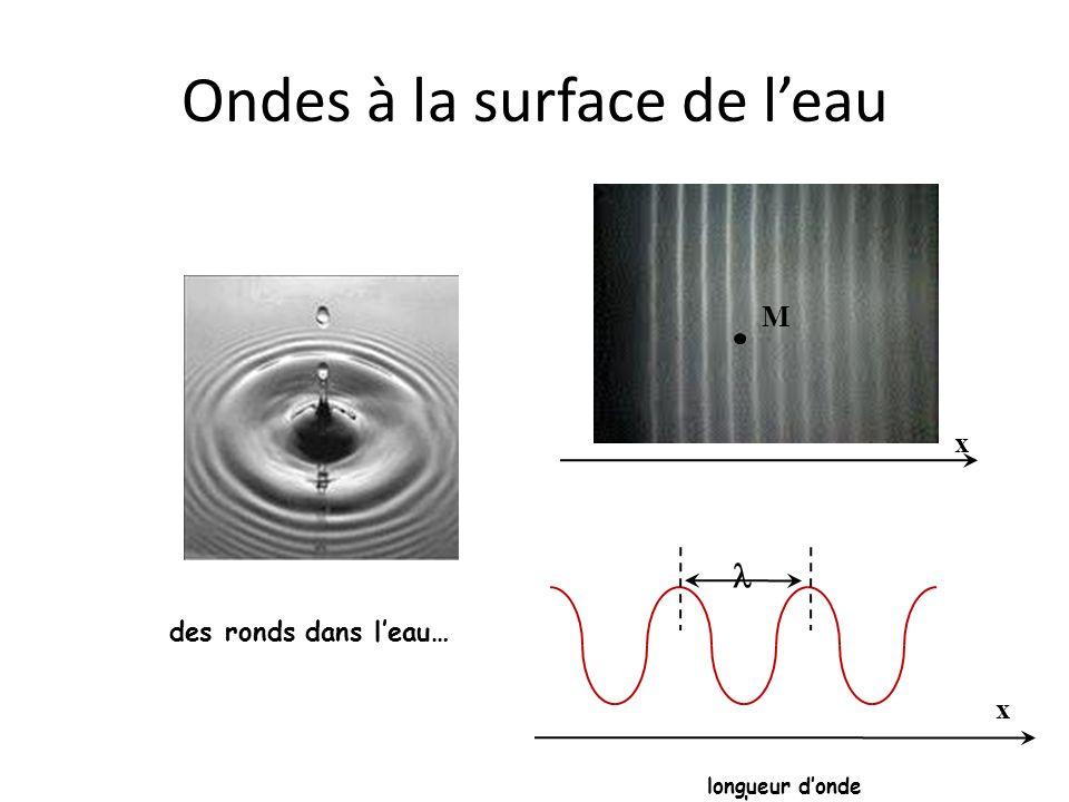 T t période Ondes à la surface de leau des ronds dans leau… x M x longueur donde