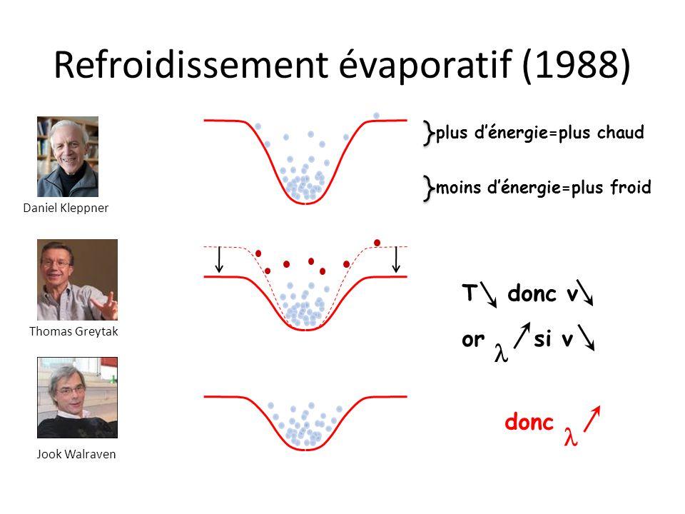 Refroidissement évaporatif (1988) Daniel Kleppner Thomas Greytak Jook Walraven moins dénergie=plus froid plus dénergie=plus chaud or si v T donc v don