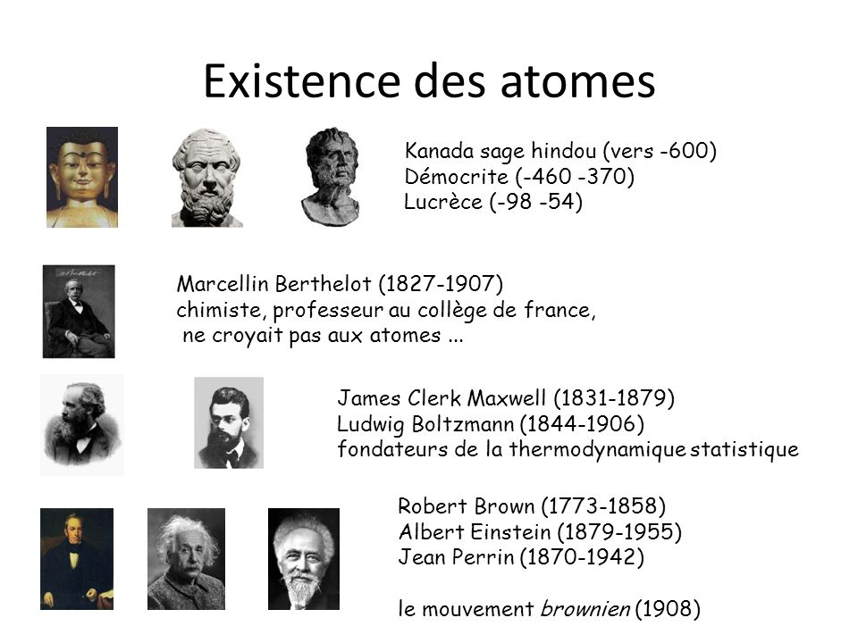Existence des atomes Marcellin Berthelot (1827-1907) chimiste, professeur au collège de france, ne croyait pas aux atomes... James Clerk Maxwell (1831