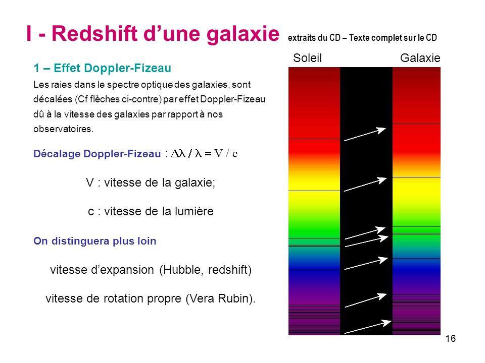16 I - Redshift dune galaxie extraits du CD – Texte complet sur le CD 1 – Effet Doppler-Fizeau Les raies dans le spectre optique des galaxies, sont dé