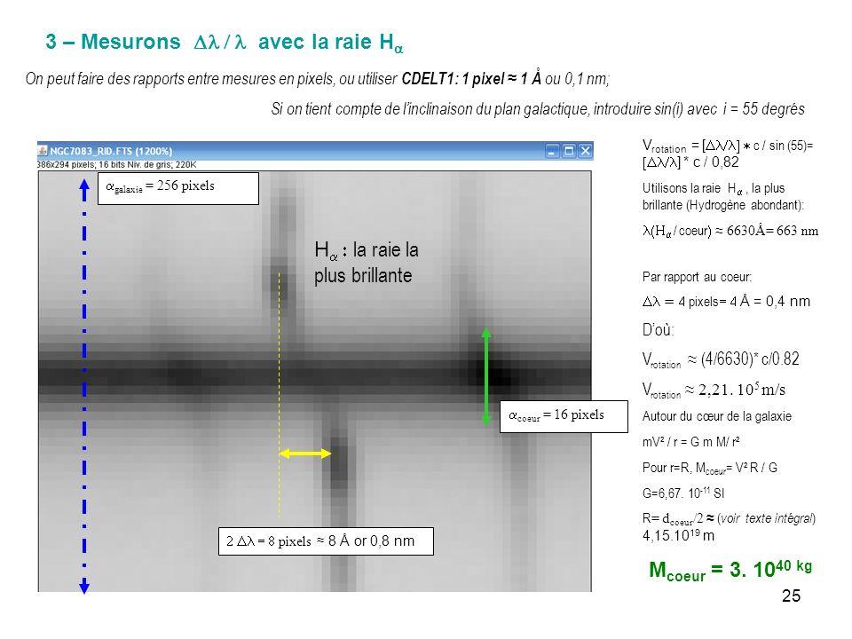 25 3 – Mesurons avec la raie H pixels 8 Å or 0,8 nm coeur = 16 pixels On peut faire des rapports entre mesures en pixels, ou utiliser CDELT1: 1 pixel