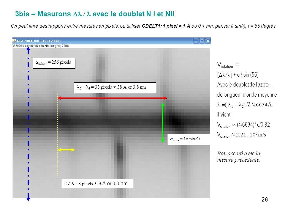 26 3bis – Mesurons avec le doublet N I et NII = 38 pixels 38 Å or 3,8 nm pixels 8 Å or 0,8 nm core = 16 pixels On peut faire des rapports entre mesure