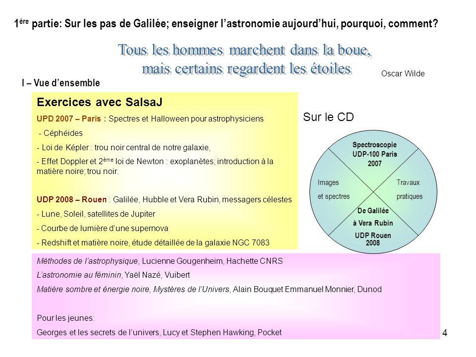 4 1 ère partie: Sur les pas de Galilée; enseigner lastronomie aujourdhui, pourquoi, comment? Oscar Wilde Méthodes de lastrophysique, Lucienne Gougenhe
