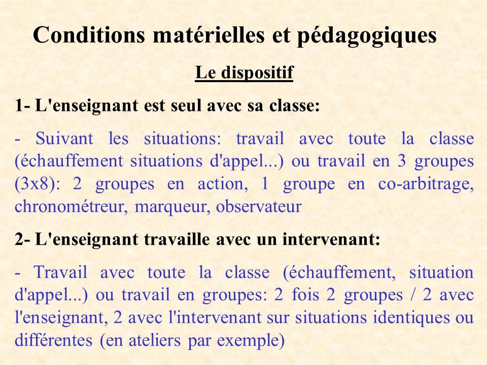 Conditions matérielles et pédagogiques Le dispositif 1- L'enseignant est seul avec sa classe: - Suivant les situations: travail avec toute la classe (