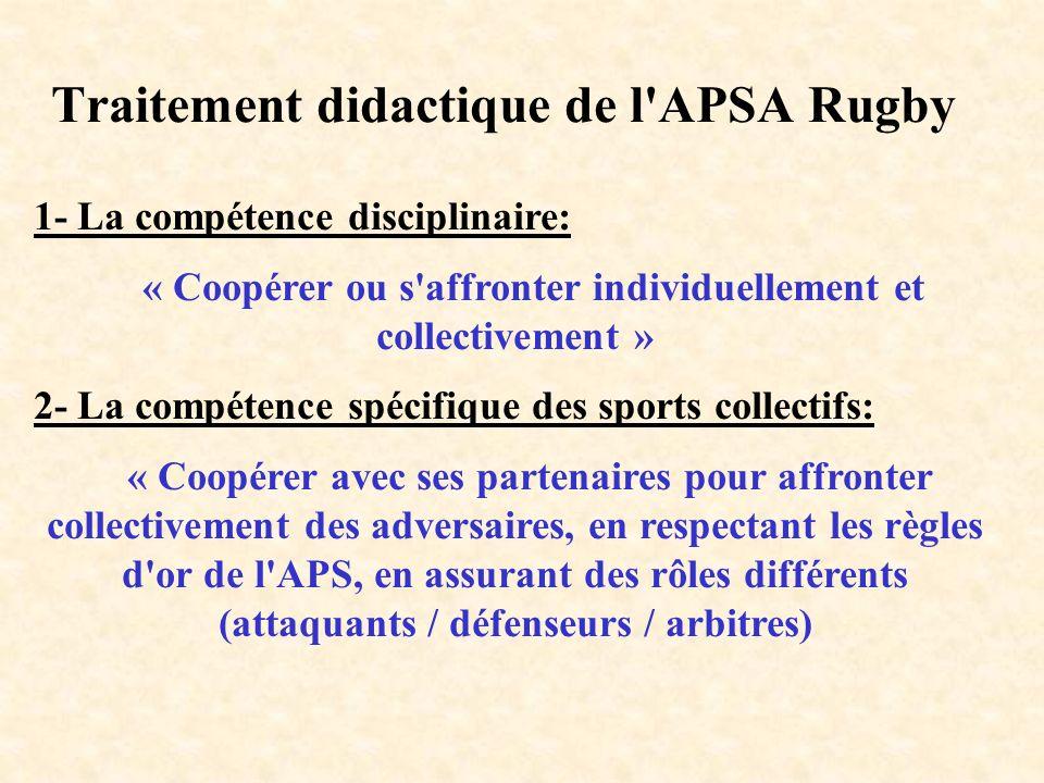 Traitement didactique de l APSA Rugby Les compétences spécifiques: - Identifier son rôle d attaquant ou de défenseur - Accepter les premiers déséquilibres - Accepter le contact physique avec les autres joueurs - Accepter le contact au sol (et le fait de se salir) - Comprendre le but du jeu - Respecter les règles d or de l APSA A la fin de l UA: être capable d avancer avec le ballon, vers l en-but, quelque soit l opposition, jusqu au contact avec l adversaire