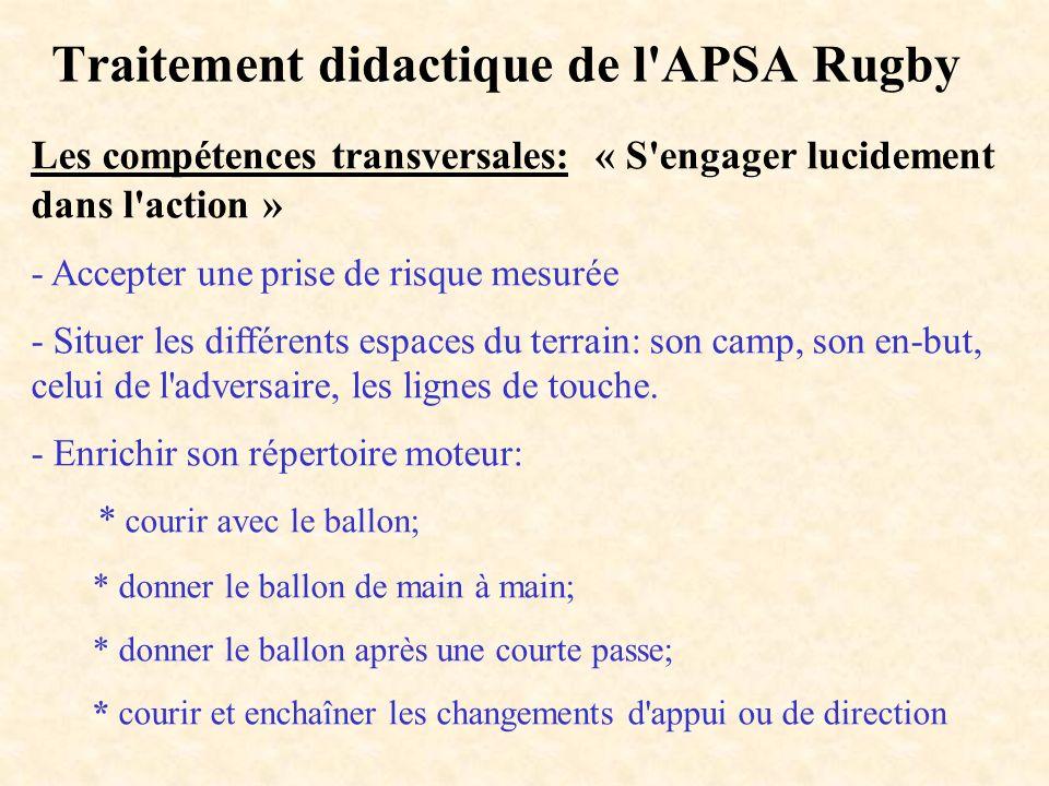Traitement didactique de l'APSA Rugby Les compétences transversales: « S'engager lucidement dans l'action » - Accepter une prise de risque mesurée - S