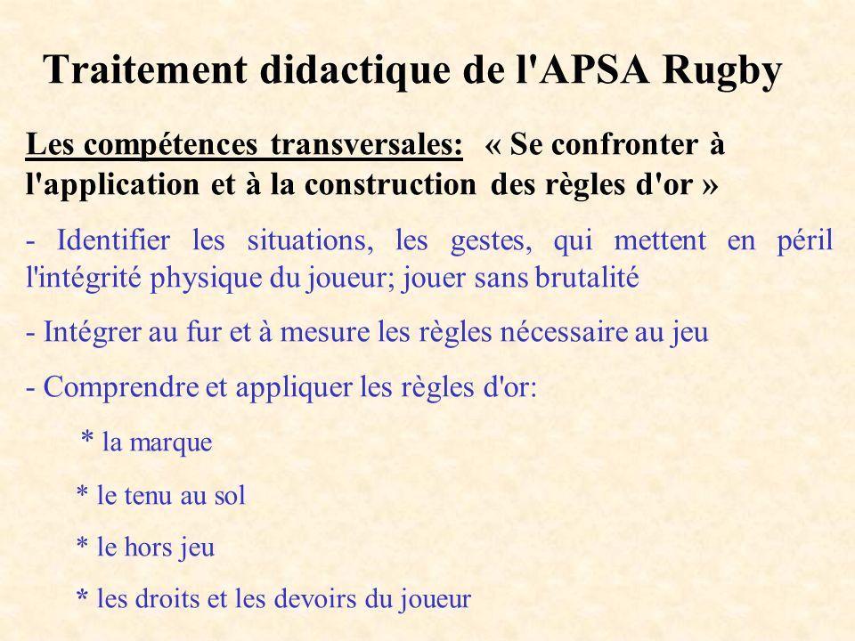 Traitement didactique de l'APSA Rugby Les compétences transversales: « Se confronter à l'application et à la construction des règles d'or » - Identifi