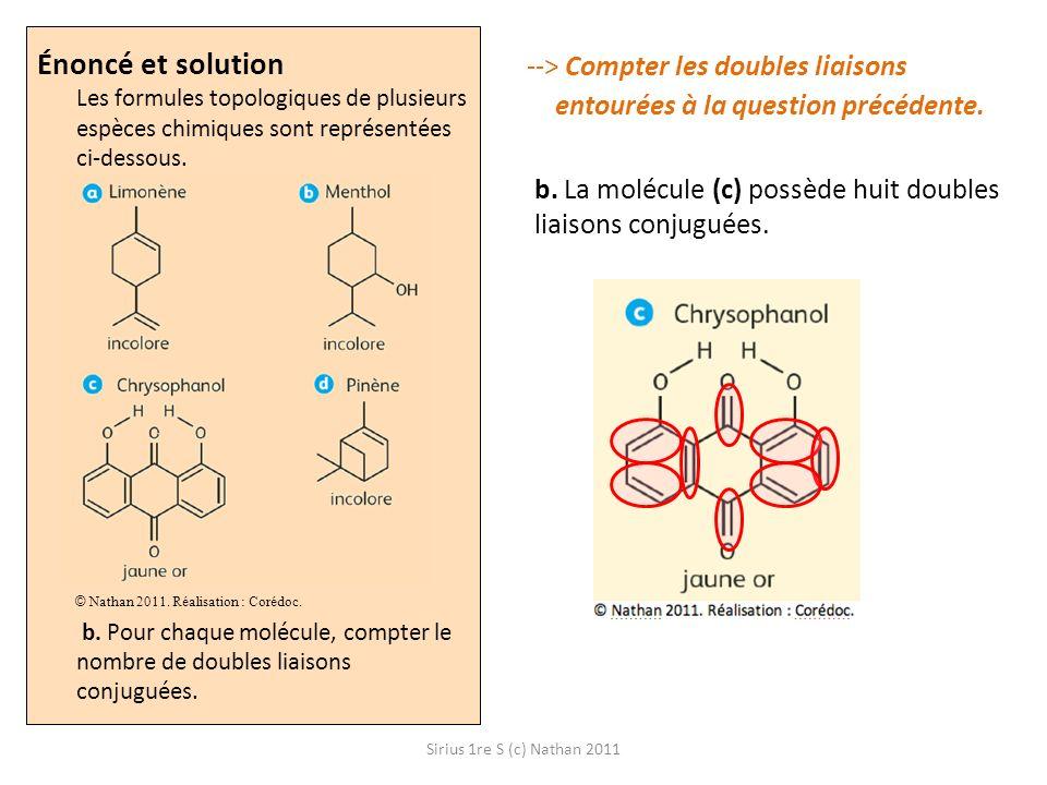 Sirius 1re S (c) Nathan 2011 --> Compter les doubles liaisons entourées à la question précédente. b. La molécule (c) possède huit doubles liaisons con