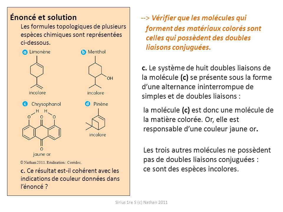 Sirius 1re S (c) Nathan 2011 Énoncé et solution Les formules topologiques de plusieurs espèces chimiques sont représentées ci-dessous. c. Ce résultat