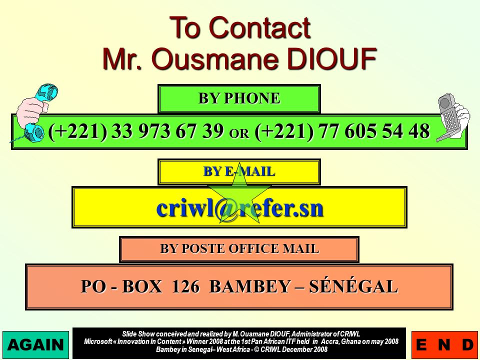 To Contact Mr.
