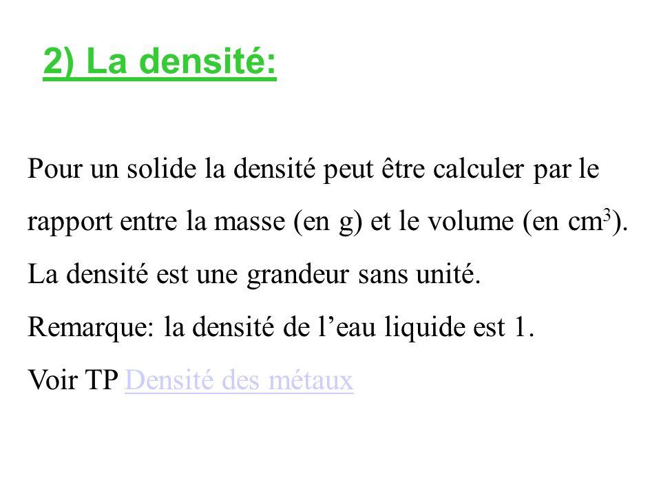 2) La densité: Pour un solide la densité peut être calculer par le rapport entre la masse (en g) et le volume (en cm 3 ).