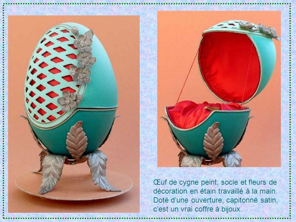 Peinture sur œuf de cygne représen- tant la femelle et ses petits.