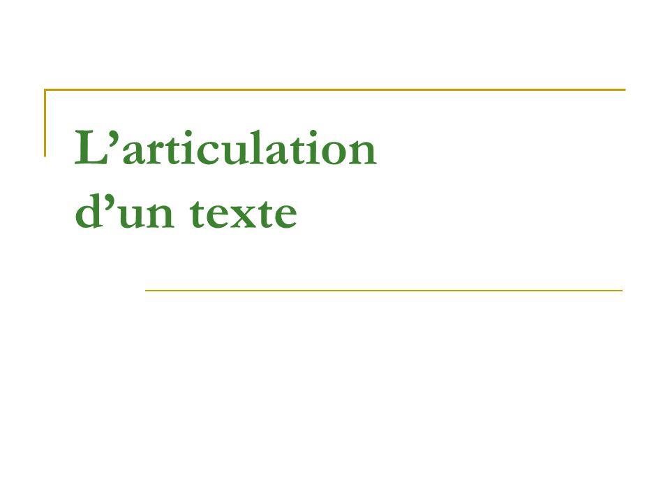 Larticulation dun texte
