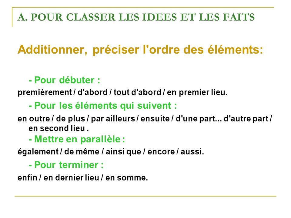 A. POUR CLASSER LES IDEES ET LES FAITS Additionner, préciser l'ordre des éléments: - Pour débuter : premièrement / d'abord / tout d'abord / en premier