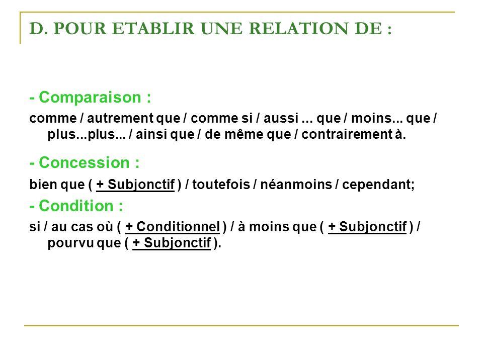 D. POUR ETABLIR UNE RELATION DE : - Comparaison : comme / autrement que / comme si / aussi... que / moins... que / plus...plus... / ainsi que / de mêm