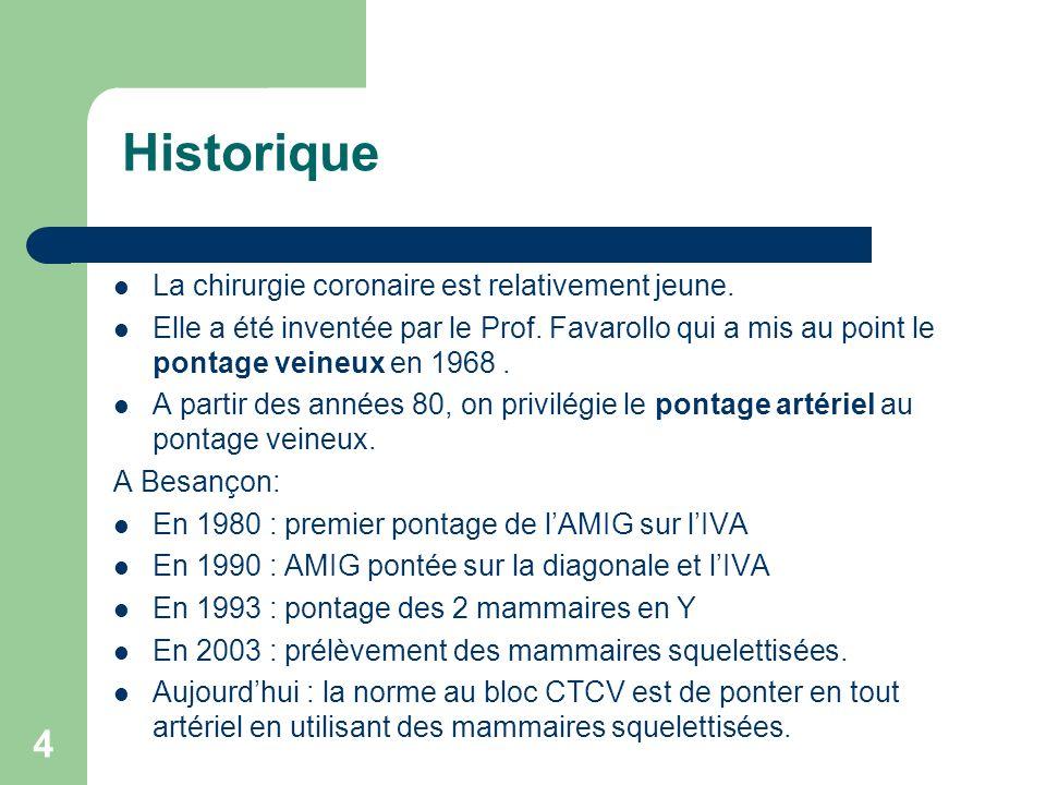 4 Historique La chirurgie coronaire est relativement jeune. Elle a été inventée par le Prof. Favarollo qui a mis au point le pontage veineux en 1968.