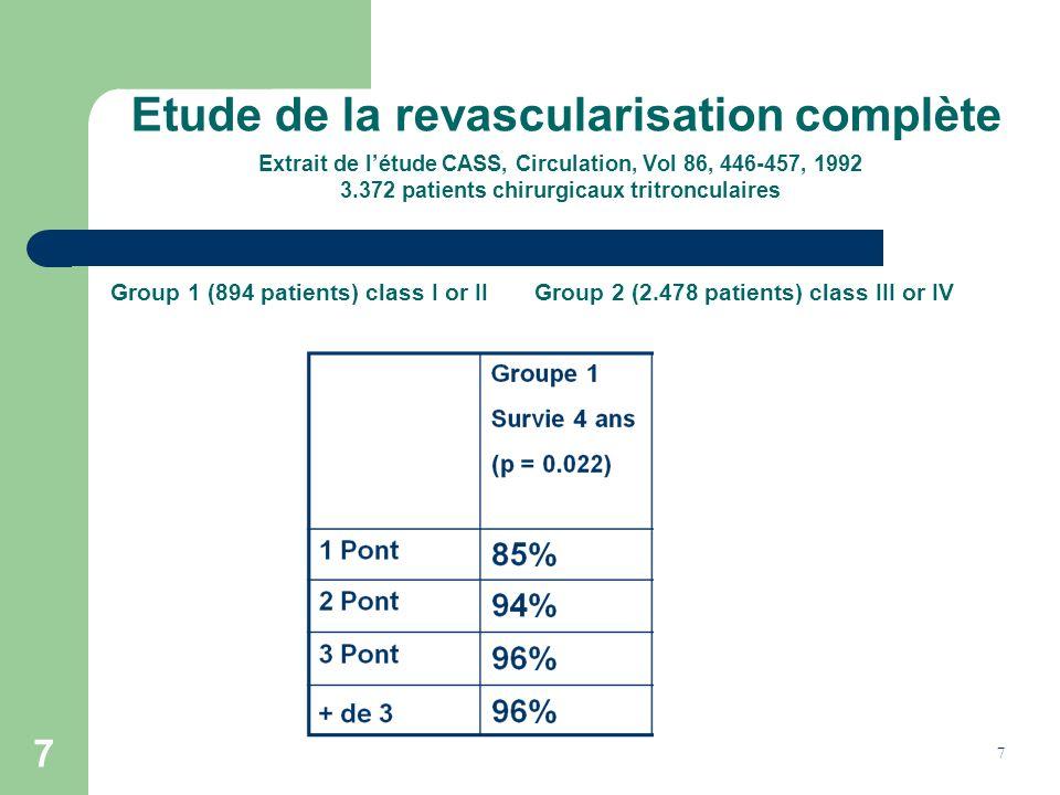 7 7 Etude de la revascularisation complète Extrait de létude CASS, Circulation, Vol 86, 446-457, 1992 3.372 patients chirurgicaux tritronculaires Grou