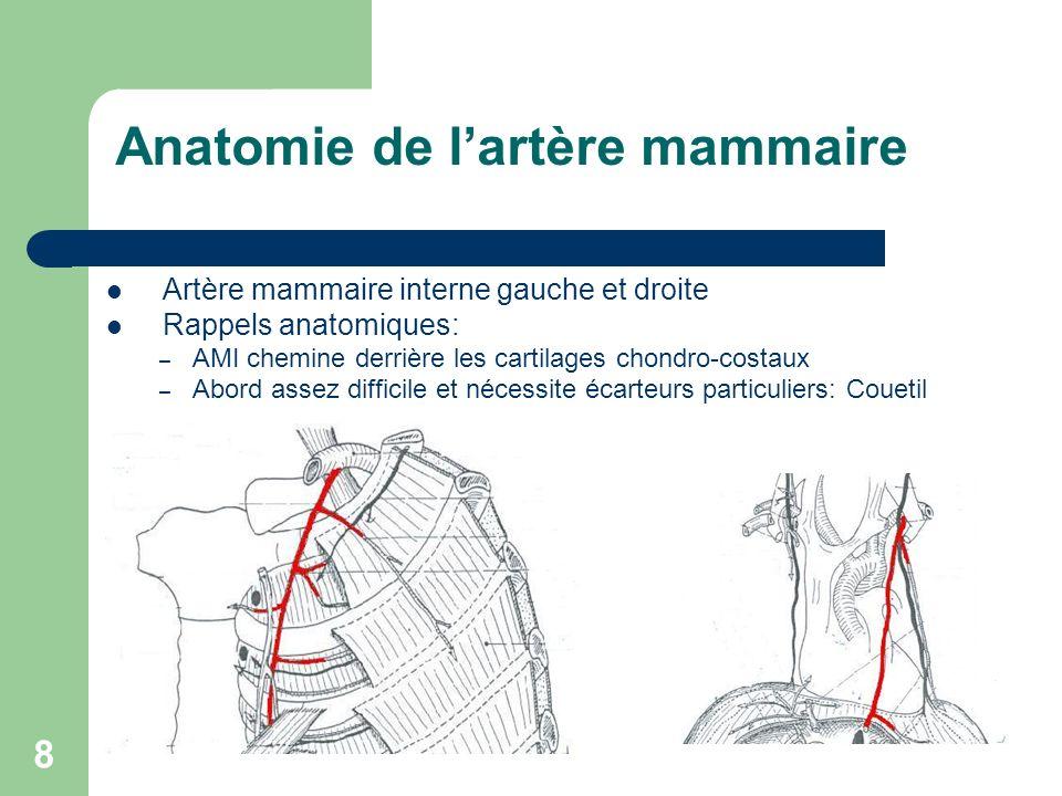 8 Anatomie de lartère mammaire Artère mammaire interne gauche et droite Rappels anatomiques: – AMI chemine derrière les cartilages chondro-costaux – A