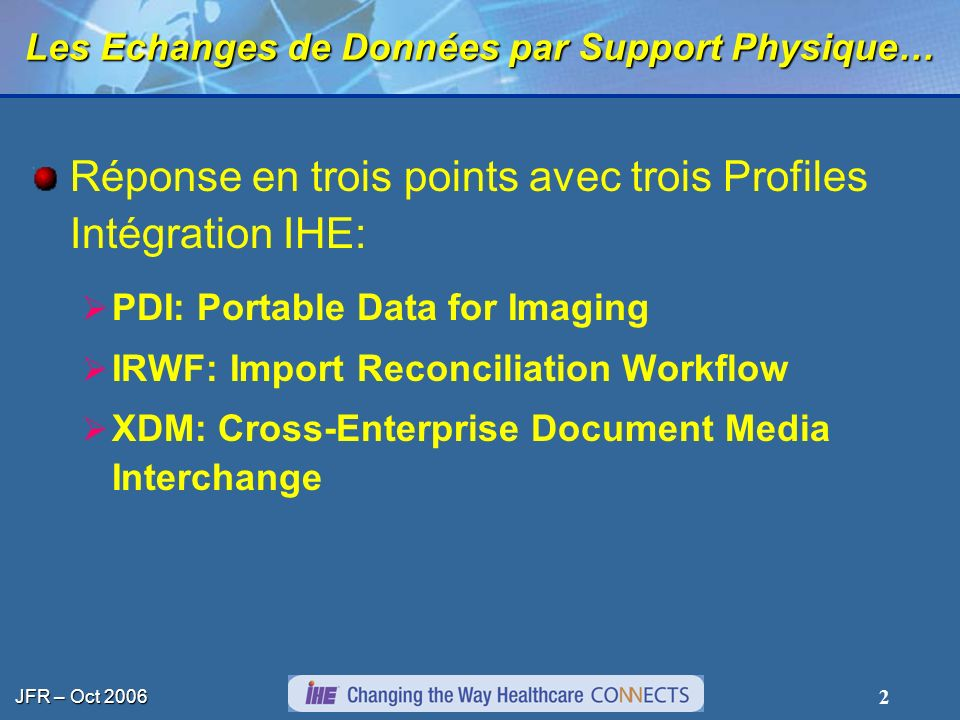 JFR – Oct 2006 2 Les Echanges de Données par Support Physique… Réponse en trois points avec trois Profiles Intégration IHE: PDI: Portable Data for Imaging IRWF: Import Reconciliation Workflow XDM: Cross-Enterprise Document Media Interchange