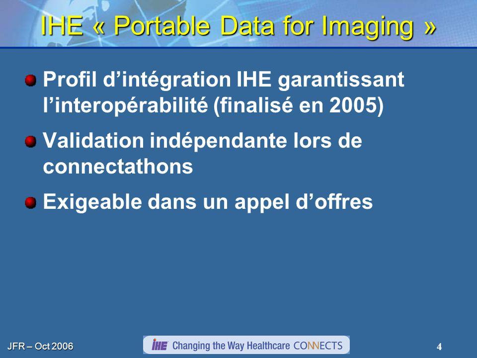 JFR – Oct 2006 4 IHE « Portable Data for Imaging » Profil dintégration IHE garantissant linteropérabilité (finalisé en 2005) Validation indépendante l